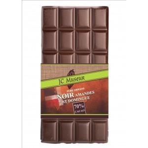 Tablette chocolat noir St Domingue aux éclats amandes grillées