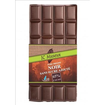 tablette chocolat noir sans sucre ajout 65 cacao chocolaterie jc museur. Black Bedroom Furniture Sets. Home Design Ideas
